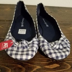 Blue and white gingham pattern flats
